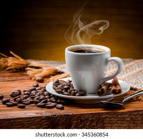 Coffee cup and saucer on a wooden table