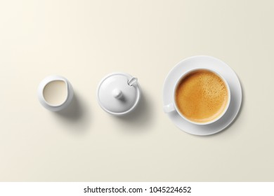 Coffee cup and sauser isolated on white background.Top view.Coffee, cup, sausers.