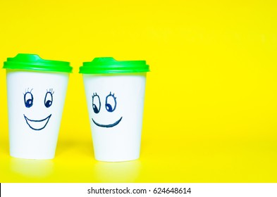 coffee cup, smiley