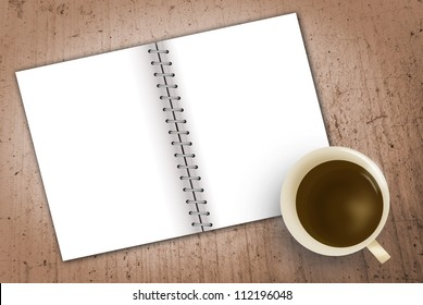 coffee cup with space and notebook