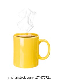 Coffee cup with steam on white background