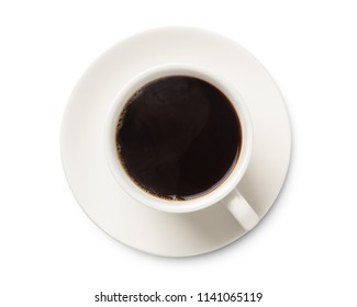 coffee cup, top view of coffee black in white ceramic cup isolated on white background.
