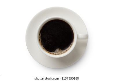 Coffee cup top view isolated on white background. Black coffee cup.