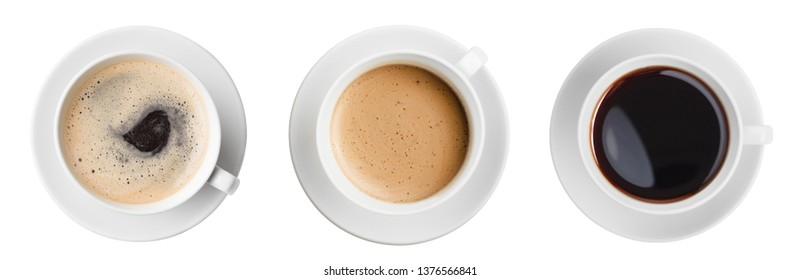 coffee cup top view set isolated