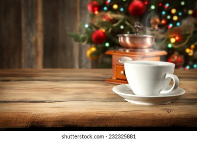 coffee cup of white and decoration of tree