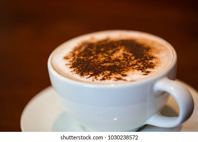 coffee cup with wipping cream. Depth of field.