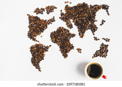 Coffee cups with black coffee and globe map made from coffee bean