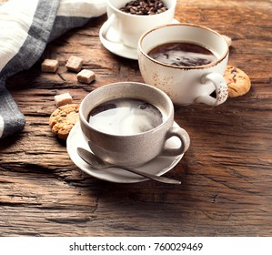 Coffee cups  on a rustic background. Coffee time
