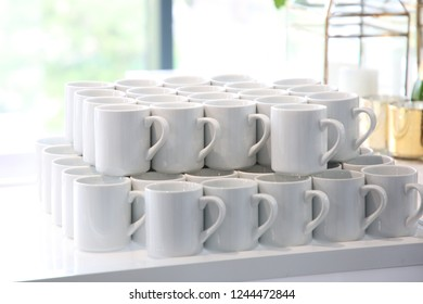 Coffee cups stacked for display