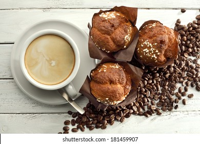 coffee and dark muffins