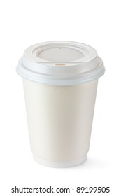 Coffee in disposable cup with plastic lid. Isolated on a white.
