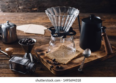 coffee drip on wooden table