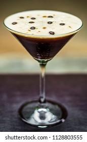 coffee espresso cream martini cocktail drink glass on bar