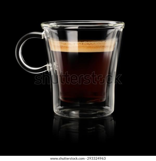 Coffee Espresso Doppio Lungo Transparent Cup Stock Photo