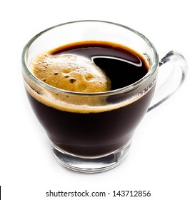 Coffee Espresso in  Glass small cup with foam white background, closeup
