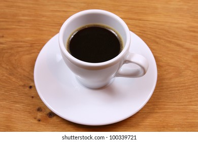 Coffee espresso on wooden table