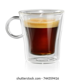 Coffee Espresso in transparent cup isolated on white background with clipping path