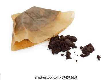 Coffee filter with brewed coffee set on white background