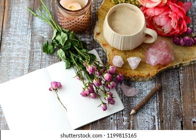 coffee floral desk setup