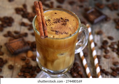 Coffee frappe - traditional recipe of greek cuisine.Summer drink.