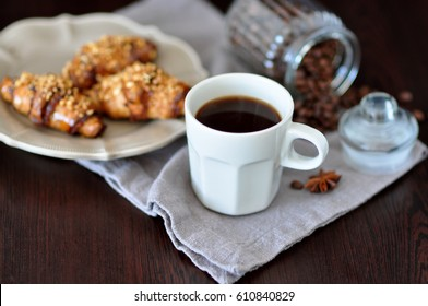 Coffee and fresh croissants