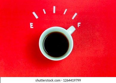coffee is a fuel concept - a cup on a red background