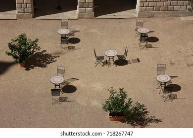 Coffee garden at castle courtyard