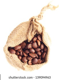 Coffee grain in canvas sack.