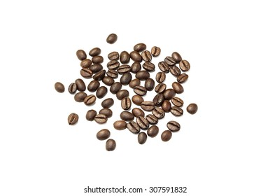 Coffee grains closeup on white background