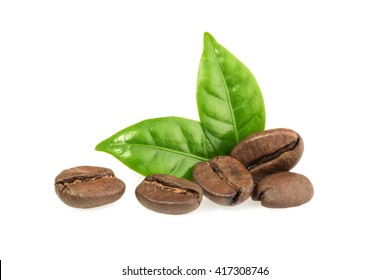 coffee grains with leaves isolated