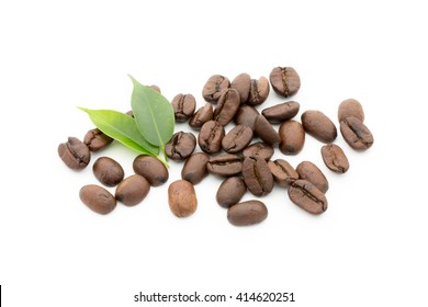 Coffee grains and leaves isolated on the white backgrounds.