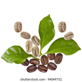 coffee grains and leaves of coffee trees surface top view  close up isolated on white