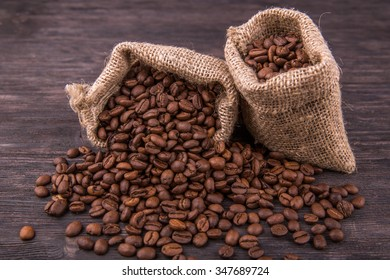 Coffee grains in sacks