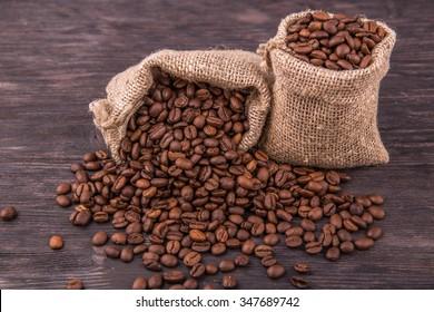 Coffee grains in sacks