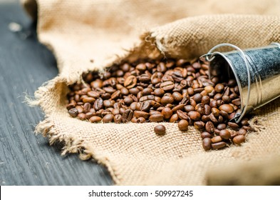 coffee grains and a small bucket
