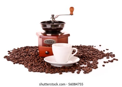 Coffee Grinder and cup isolated on white