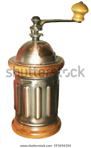 Coffee grinder manual in white background.