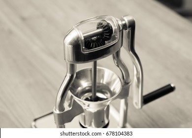 Coffee grinder with sepia tone, Soft shutter