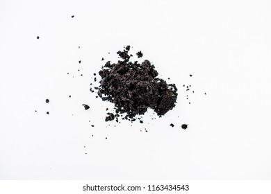 Coffee grounds on a white background