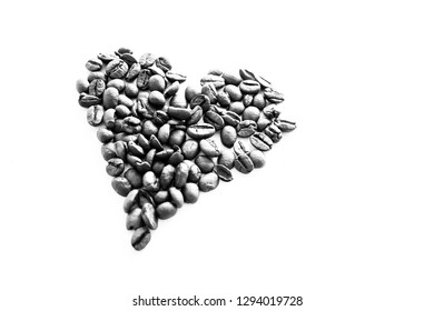 Coffee heart background on white