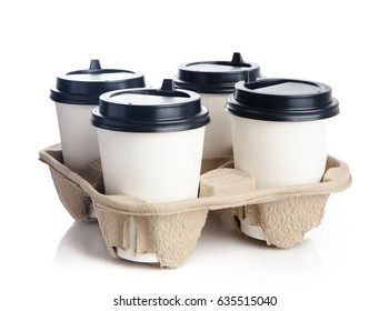 coffee in holder. Isolated on a white