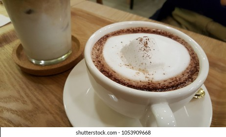 coffee and hot chocolate with  marshmallow