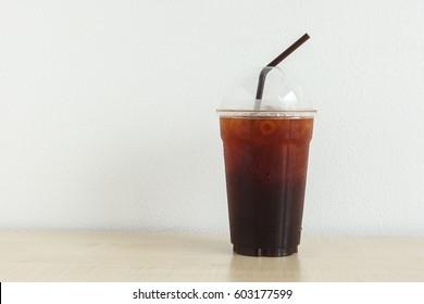 Coffee Ice Caffe americano on wood table