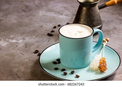 Coffee and ice cream on a concrete background. Selective focus