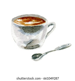 coffee illustration. Hand drawn watercolor on white background.