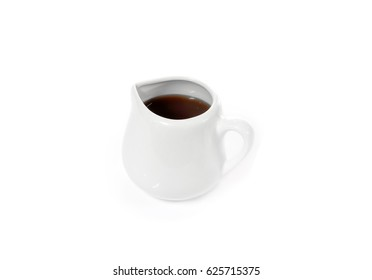 Coffee jug and milk on white background