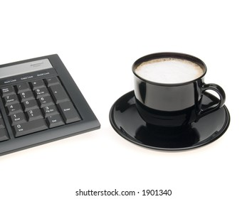 coffee and keys on white background