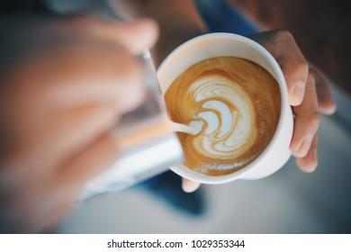 Coffee latte art in cafe