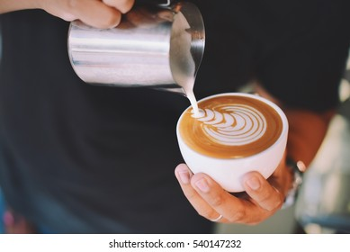coffee latte art making by barista