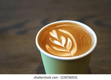 Coffee Latte with art on foam